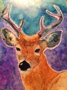Buck 10x8 Alcohol Ink on YUPO