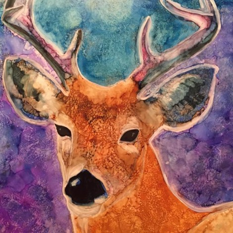 Buck, 10×8, Alcohol Ink on YUPO
